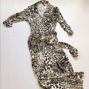 Animal print jumpsuit, 3/4 sleeve
